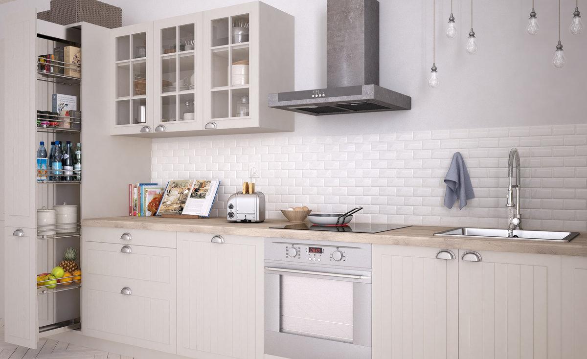 kuchnia w stylu skandynawskim, białe fronty kuchenne