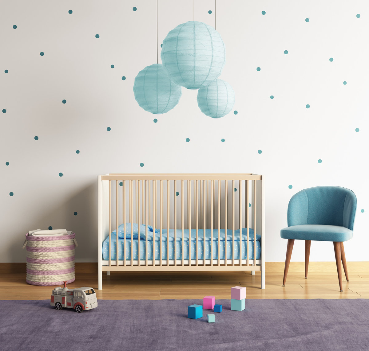 kropki w pokoju dziecięcym